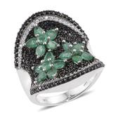 Kagem Zambian Emerald, Thai Black Spinel, Cambodian Zircon Platinum Over Sterling Silver Elongated Floral Concave Ring (Size 7.0) TGW 5.18 cts.