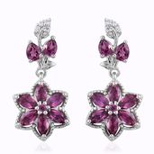 Mahenge Umbalite, Cambodian Zircon Platinum Over Sterling Silver Floral Dangle Earrings TGW 3.89 cts.