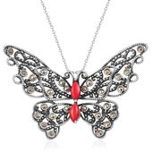 Mediterranean Coral, Swiss Marcasite Sterling Silver Butterfly Pendant With Chain (18 in) TGW 2.58 cts.