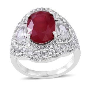 Niassa Ruby, White Topaz Sterling Silver Cuff Ring (Size 9.0) TGW 13.20 cts.
