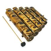 Traditional Wooden Bamboo Music Instrument In Burn Motif