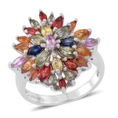 Multi Sapphire Sterling Silver Ring (Size 11.0) TGW 4.03 cts.