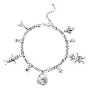 Stainless Steel Princess Bell Charm Anklet (9 in)
