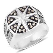 Swiss Marcasite Stainless Steel Men's Signet Ring (Size 9.0) TGW 0.48 cts.