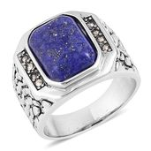 Lapis Lazuli, Swiss Marcasite Stainless Steel Ring (Size 13.0) TGW 5.16 cts.