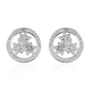 Simulated Diamond Sterling Silver Floral Stud Earrings TGW 1.17 cts.