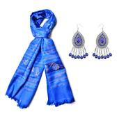 Royal Blue Resin Black Oxidized Stainless Steel Earrings and Royal Blue 100% Polyester Scarf (23.63x70.87 in) TGW 135.00 cts.