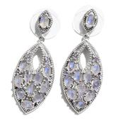 Sri Lankan Rainbow Moonstone, Tanzanite Platinum Over Sterling Silver Earrings TGW 6.96 cts.