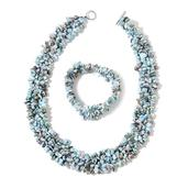 Larimar Stainless Steel Chips Bracelet (Stretchable) and Necklace (19.00 In) TGW 840.00 cts.