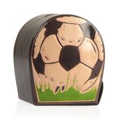 Handpainted Genuine Leather Soccer Ball Money Bank with Button Opening (3x2x3.5 in)