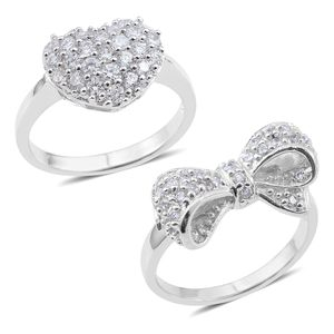 Set of 2 Simulated Diamond Silvertone Bow and Heart Rings (Size 8) TGW 1.00 cts.