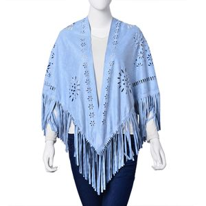 Sky Blue 30% Polyester and 70% Suede Laser Cut Flower Pattern Evening Shawl Wrap with Fringe