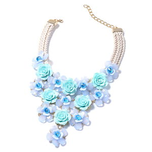 Blue Chroma, Blue Glass Goldtone Floral Bib Statement Necklace (18-20 in)