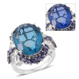 Color Change Fluorite, Catalina Iolite Platinum Over Sterling Silver Ring (Size 10.0) TGW 23.25 cts.