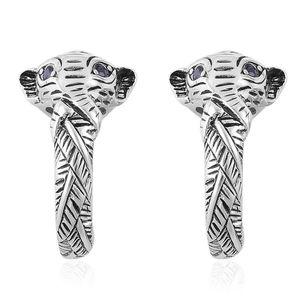 Black Sapphire Stainless Steel Elephant J-Hoop Earrings