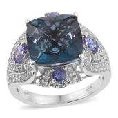Indicolita Quartz, Tanzanite, Cambodian Zircon Platinum Over Sterling Silver Ring (Size 6.0) TGW 9.39 cts.