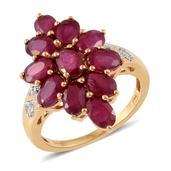 Niassa Ruby, Cambodian Zircon 14K YG Over Sterling Silver Ring (Size 5.0) TGW 6.77 cts.