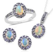 Srikant's Showstopper Ethiopian Welo Opal, Tanzanite Platinum Over Sterling Silver Earrings, Ring (Size 10) and Pendant With Chain (20 in) TGW 4.66 cts.
