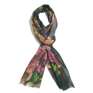 Peacock Green 100% Modal Printed Scarf (70x27 in)