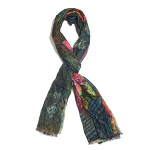 Forest Green 100% Modal Floral Printed Scarf (70x27 in)