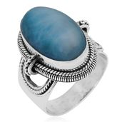 Bali Legacy Collection Larimar Sterling Silver Ring (Size 7.0) TGW 15.87 cts.