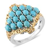 Arizona Sleeping Beauty Turquoise 14K YG and Platinum Over Sterling Silver Ring (Size 6.0) TGW 3.25 cts.
