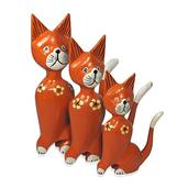 Set of 3 Handcrafted Decorative Wooden Cats (9 in)