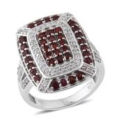 Anthill Garnet, Cambodian Zircon Platinum Over Sterling Silver Ring (Size 5.0) TGW 2.54 cts.