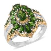Russian Diopside, Cambodian Zircon 14K YG and Platinum Over Sterling Silver Ring (Size 5.0) TGW 5.17 cts.