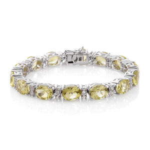 Ouro Verde Quartz, White Topaz Platinum Over Sterling Silver Bracelet (7.50 In) TGW 40.88 cts.