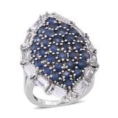 White Topaz, Kanchanaburi Blue Sapphire Sterling Silver Ring (Size 10.0) TGW 6.51 cts.
