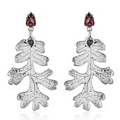 Nature's D'Or Lacey Oak Leaf Dipped in Platium and Orissa Rhodolite Garnet Platinum over Sterling Silver Dangle Earrings Total Gem Stone Weight 4.52 Carat