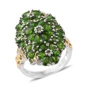 Russian Diopside, Cambodian Zircon 14K YG and Platinum Over Sterling Silver Ring (Size 5.0) TGW 6.45 cts.