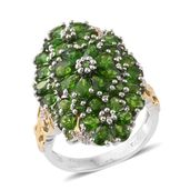 Russian Diopside, Cambodian Zircon 14K YG and Platinum Over Sterling Silver Ring (Size 6.0) TGW 6.45 cts.