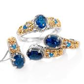 Deepak's Dazzling Deals Malgache Neon Apatite 14K YG and Platinum Over Sterling Silver J-Hoop Earrings, Ring (Size 8) and Pendant With Chain (20 in) TGW 3.53 cts.