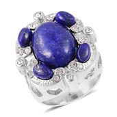 Lapis Lazuli, White Austrian Crystal Stainless Steel Heart Ring (Size 8.0) TGW 15.00 cts.