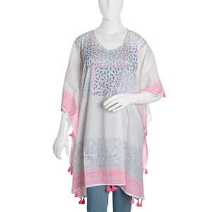 100% Cotton Hand Block Blue and Pink Leaf Medellion Print Scoop V-Neck Caftan with Handmade Tassels (One Size)