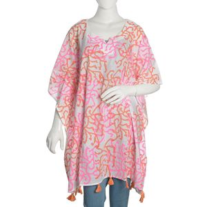 100% Cotton Hand Block Pink Vermicular Medellion Print Scoop V-Neck Caftan with Handmade Tassels (One Size)