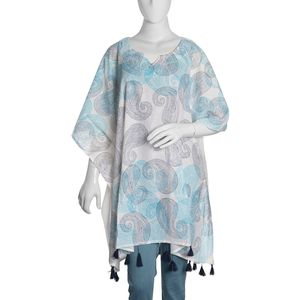 100% Cotton Hand Block Blue Paisley Print Scoop V-Neck Caftan with Handmade Tassels (One Size)