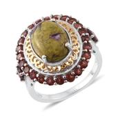 Tasmanian Stichtite, Mozambique Garnet 14K YG and Platinum Over Sterling Silver Ring (Size 6.0) TGW 7.17 cts.