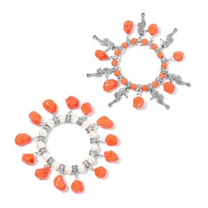Orange Howlite, Simulated Pearl Silvertone Set of 2 Bracelets with Charms (Stretchable) TGW 332.50 cts.