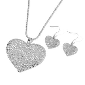 Silvertone Pierced Heart Dangle Earrings and Pendant With Popcorn Chain (30 in)