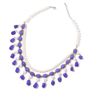 Purple Howlite, Simulated Pearl Silvertone Double Strand Charm Bib Necklace (22 in) TGW 383.50 cts.