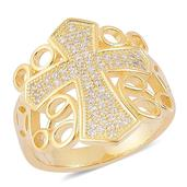 ELANZA Simulated White Diamond 14K YG Over Sterling Silver Ring (Size 9.0) TGW 0.50 cts.
