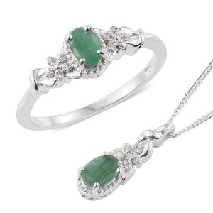 Sakota Emerald, Cambodian Zircon Platinum Over Sterling Silver Ring (Size 7) and Pendant With Chain (20 in) TGW 1.05 cts.