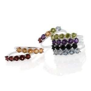 One Day TLV Set of 7 Multi Gemstone Sterling Silver 5 Stone Stack Rings (Size 8) TGW 11.14 cts.