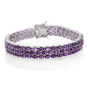 Amethyst Platinum Over Sterling Silver 3 Row Line Bracelet (8.00 In) TGW 27.50 cts.