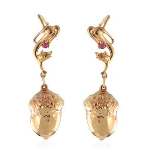 Nature's D'Or Acorn Dipped in 24K YG, Niassa Ruby 14K YG Over Sterling Silver Dangle Earrings TGW 0.15 cts.