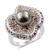 Tahitian Pearl, Multi Sapphire Platinum Over Sterling Silver Ring (Size 6.0) TGW 2.38 cts.