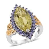 Ouro Verde Quartz, Tanzanite 14K YG and Platinum Over Sterling Silver Ring (Size 7.0) TGW 9.13 cts.